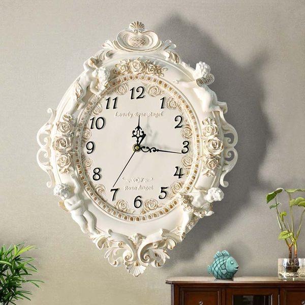 歐式客廳創意時尚藝術裝飾掛鍾靜音臥室時鍾大掛鍾錶天使石英鍾錶BLNZ 免運快速出貨
