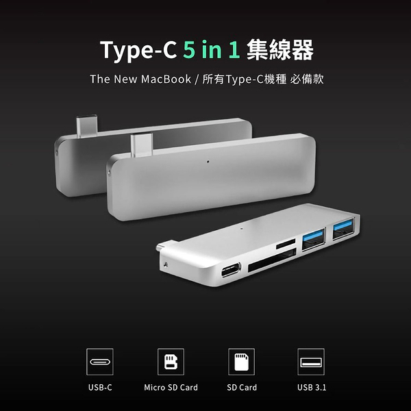 HyperDrive 5-in-1 USB-C Hub with Power Delivery多功能集線器 Apple Macbook PD 五孔