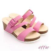 effie 嬉皮假期 真皮飾釦楔型涼拖鞋 桃粉紅