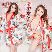情趣用品 情趣睡衣 性感內衣 戀戀櫻情!魅惑深V和服式浴袍三件組【531013】
