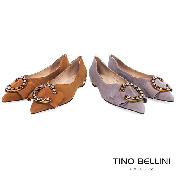 Tino Bellini 華麗C字鑽釦佐寬板蝴蝶結尖楦娃娃鞋 _ 棕 B83280