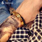 手鍊 歐美時尚創意馬蹄扣手鐲金銀色皮帶扣手環個性潮男女鈦鋼手鐲手飾