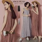 洋裝 Space Picnic|素色抓皺無袖長洋裝(現+預)【C20073022】