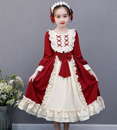 女童洋裝 女童連衣裙加絨洛麗塔洋裝女孩公主裙洋氣秋裝學生兒童裙子【快速出貨八折搶購】