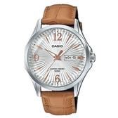 【CASIO】 六芒星璀璨閃耀皮帶紳士錶-白X玫瑰金X棕色錶帶(MTP-E120LY-7A)