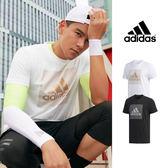 【GT】Adidas 黑白 短袖T恤 純棉 運動 休閒 訓練 燙金 燙銀 條紋 上衣 短T 愛迪達 基本款 彭于晏 Logo