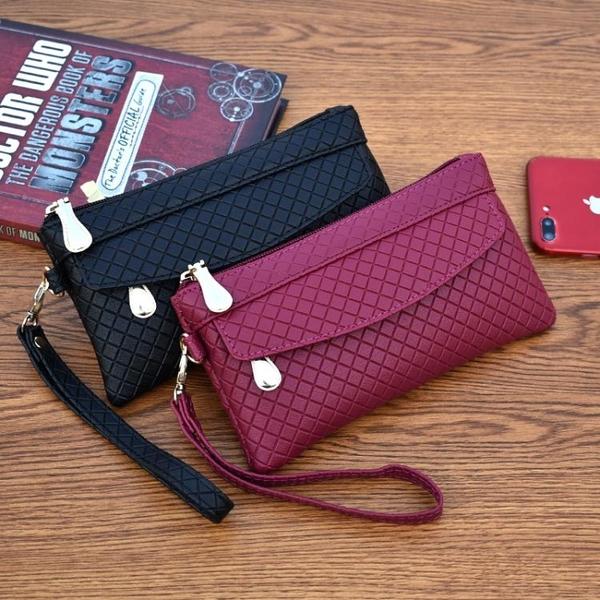 手拿包女錢包百搭潮爆簡約手機包氣質格紋零錢包小包交換禮物