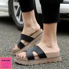 [ALMANDO-SHOES] 新款春夏H型厚底英倫真皮拖鞋(34-43大尺碼)