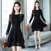 小黑裙 胖妹妹秋季大碼洋裝2019新款洋氣遮肚顯瘦時尚氣質連身裙 XN5723【優品良鋪】