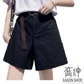 EASON SHOP(GW2847)實拍復古純色鬆緊腰收腰多口袋工裝褲女高腰短褲直筒五分褲顯瘦修身休閒褲直筒褲
