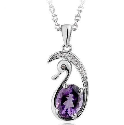 紫水晶天鵝吊墜 銀項鏈水晶