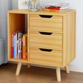 床頭櫃歐式收納櫃實木腿儲物櫃臥室床邊小櫃子抽屜式斗櫃 xw中元節禮物