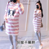 孕婦裝 MIMI別走【P52488】紐約狗狗 粉色條紋棉質長版上衣 連身裙