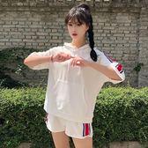 原宿風韓版學生寬松短袖跑步運動服卷邊短褲閨蜜兩件套