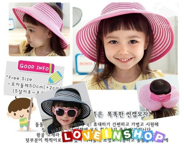 韓版親子款可卷可折疊遮陽帽/條紋大沿空頂帽/草帽