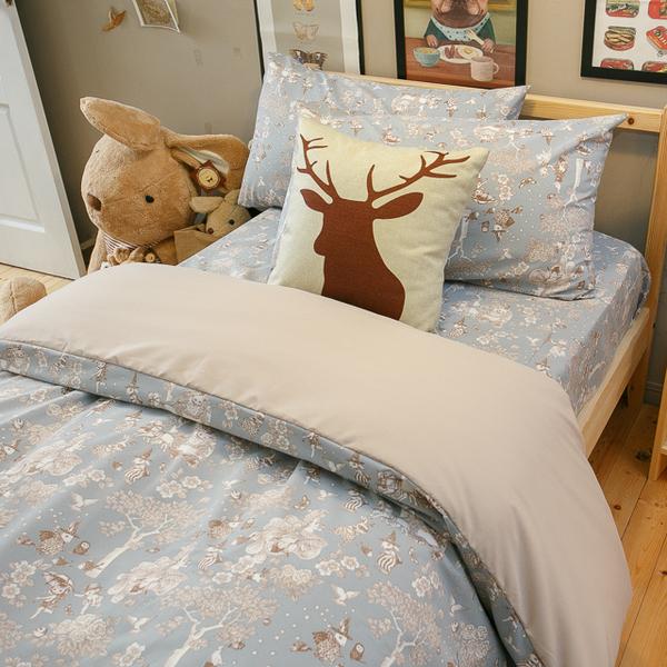鹿先生的奇幻小屋  D2雙人床包雙人薄被套4件組 四季磨毛布 北歐風 台灣製造 棉床本舖