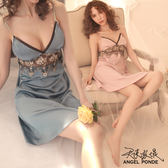 天使波堤【LD0489】韓風高腰緞面拼接蕾絲居家睡衣情趣性感罩衫死庫水二件式-藕粉(共三色)