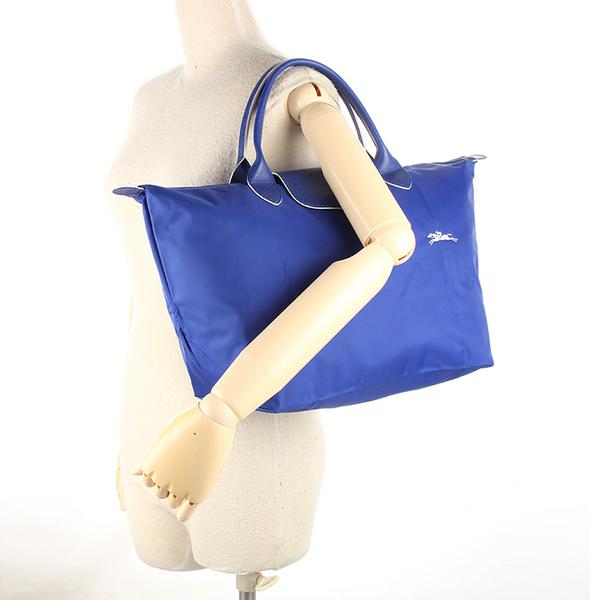 Longchamp Le Pliage刺繡LOGO短提把中型尼龍摺疊水餃包(鈷藍色)480207-P24