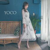 東京著衣【YOCO】韓妞夢幻繡花紗裙拼接蕾絲上衣假兩件洋裝-S.M.L(180287)