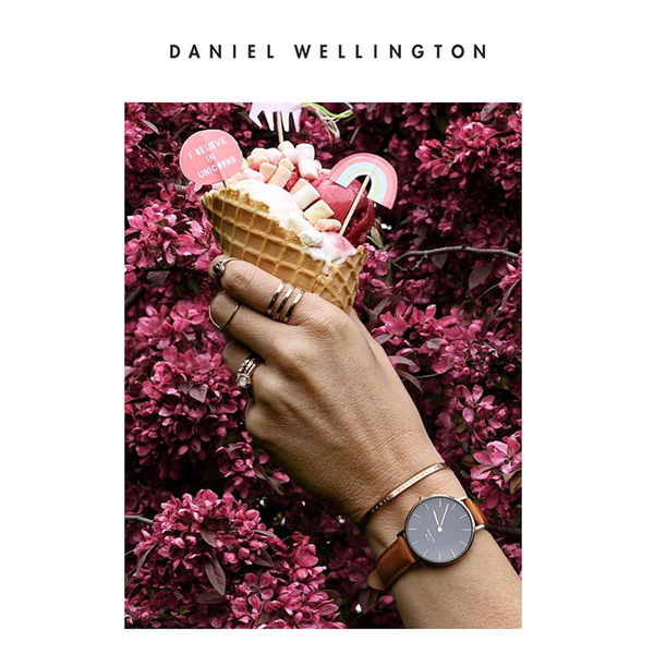 DW 手錶 官方旗艦店 28mm玫瑰金框 Classic Petite 淺棕真皮皮革 - Daniel Wellington
