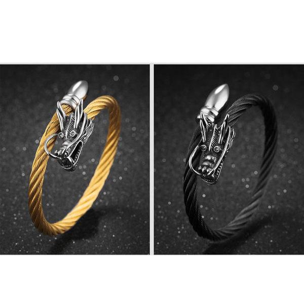 【5折超值價】316L西德鈦鋼經典時尚復古風格龍頭造型男款鈦鋼手環