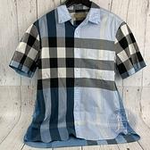 BRAND楓月 BURBERRY 巴寶莉 藍色 粗格紋 襯衫 短袖 經典格紋襯衫 衣服 服飾 上衣 #M