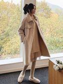 冬季2018新款皮毛一體復合羊毛外套女中長款麂皮絨大衣