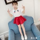 女童夏季套裝2020年韓版新款襯衣短褲兩件套淑女公主裙小女孩套裝TZ144【男人範】
