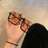 墨鏡韓版個性網紅款超大框方框眼鏡女潮百搭街拍墨鏡圓臉顯臉小太陽鏡 雲朵走走