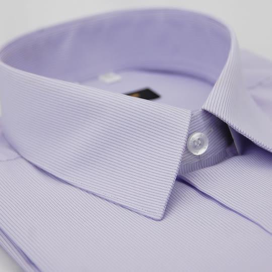 【金‧安德森】紫底黑細紋吸排短袖襯衫