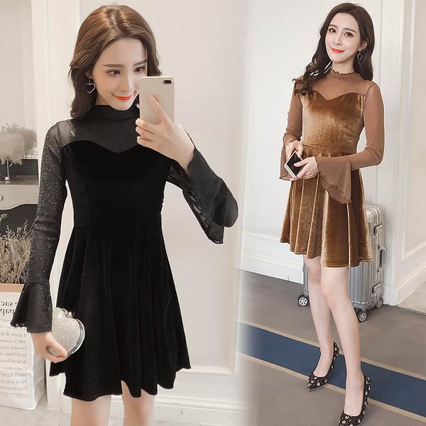清倉$388 韓系金絲絨拼接顯瘦喇叭袖氣質名媛長袖洋裝
