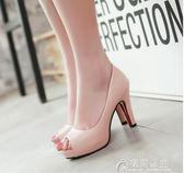 春夏新款四季鞋高跟氣質魚嘴鞋通勤黑色工作鞋職業百搭女鞋子 花間公主