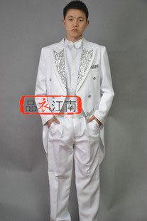 白色燕尾服 領口鑲銀色花紋改良版
