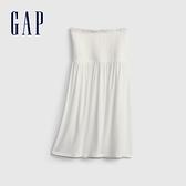 Gap女童 莫代爾彈力平口洋裝 687185-白色