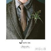 窄版6公分羊毛混紡 咖色灰色窄版休閒復古領帶人字紋英倫復古領帶『美優小屋』