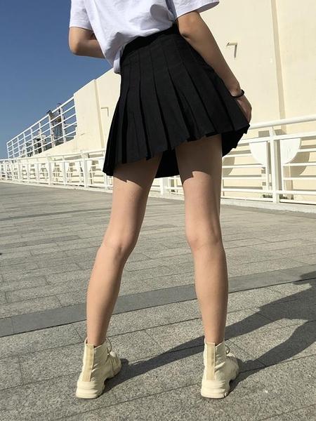 短裙女 高腰百褶裙女春夏季黑色大碼學院風半身裙a字顯瘦防走光小短裙褲【快速出貨】
