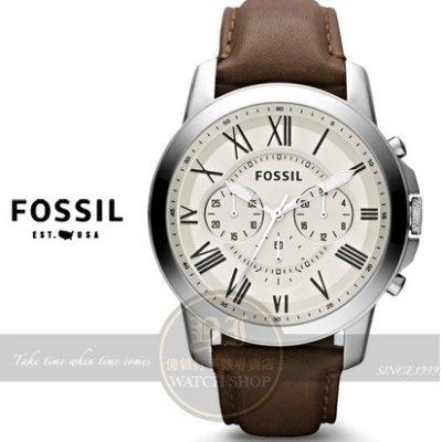 【南紡購物中心】FOSSIL美國品牌都會紳士三眼計時真皮腕錶-米黃x咖啡/44mm FS4735