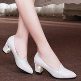 中跟鞋 單鞋粗跟淺口職業工作鞋百搭休閒皮鞋 巴黎春天