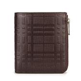BURBERRY經典格紋皮革零錢鑰匙鎖包短夾(咖啡色)080559-1