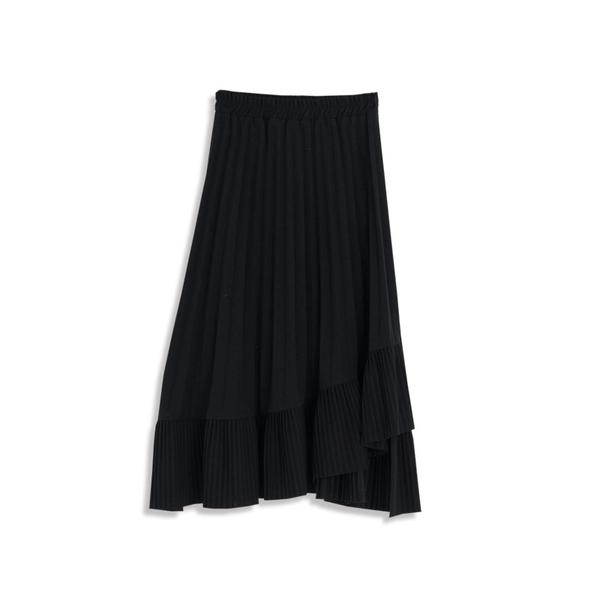 Queen Shop【03020623】暗黑系女孩純黑百褶不規則造型裙*現+預*