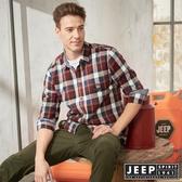 【JEEP】雙色格紋滾邊長袖襯衫(紅藍格紋)