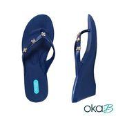 【Oka-B】BECKETT幸運草晶亮配飾人字夾腳楔型高跟涼鞋  藍色(K411BE-NA)