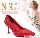 婚鞋女高跟新娘鞋中式結婚2020新款紅秀禾紅鞋細跟水晶秋天 moon衣櫥
