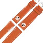 Watchband / 16.20 mm / HERMES 愛馬仕 質感車線 高級替用真皮錶帶 橘x白色縫線 #213-HMA-A34W