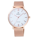 MIRRO 極簡主義時尚腕錶-玫瑰金X白大