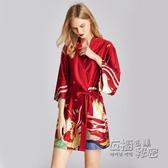 浴袍女日式和風晨袍冰絲睡袍女春秋寬鬆睡衣薄款性感大碼浴衣睡裙 衣櫥秘密