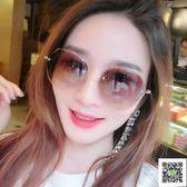 太陽鏡 不規則茶色太陽眼鏡女式 防紫外線墨鏡優雅眼睛 韓版潮復古原宿風 聖誕免運