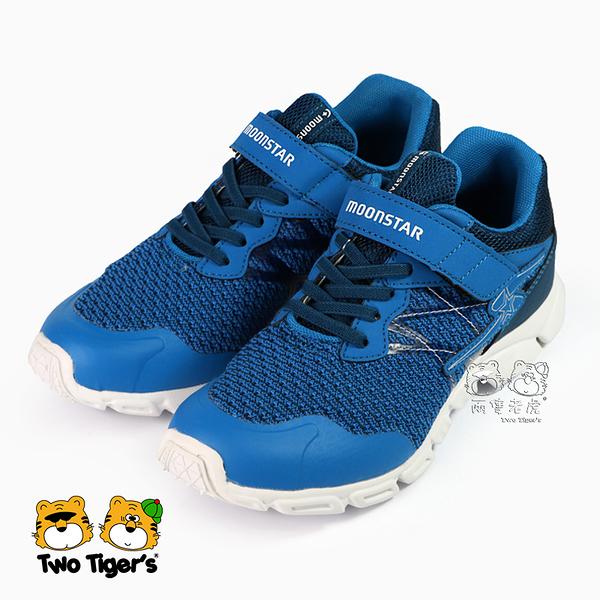 日本月星 MoonStar SS3E 休閒運動鞋 藍色 魔鬼氈 機能童鞋 中大童 NO.R4385