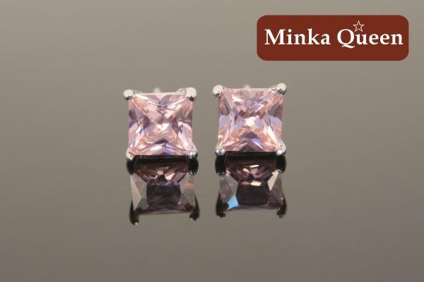 德國鈦鋼粉紅色鋯石抗敏耳環(一對)(4 mm)