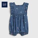 Gap 嬰兒 甜美愛心刺繡無袖包屁衣 544378-中度水洗